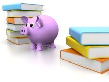 Piggy Querneigung mit Büchern Stockfotografie