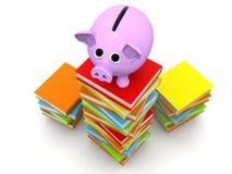 Piggy Querneigung mit Büchern Stockbilder