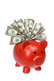 Piggy Querneigung mit Bargeld stockbild