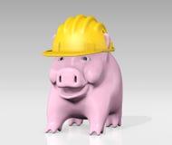 Piggy Querneigung mit Bausturzhelm stock abbildung