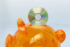 Piggy Querneigung mit CD lizenzfreie stockbilder