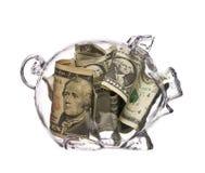 Piggy Querneigung mit Dollar Lizenzfreie Stockfotos