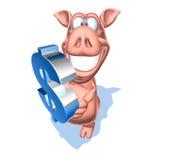 Piggy Querneigung mit einem Dollar Stockfoto