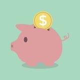 Piggy Querneigung mit einer Münze Lizenzfreie Stockfotografie