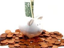 Piggy Querneigung mit Geld Lizenzfreies Stockfoto