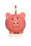 Piggy Querneigung mit Goldmünze stockfotos