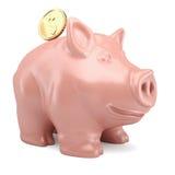 Piggy Querneigung mit Goldmünze Lizenzfreies Stockfoto
