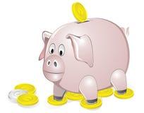 Piggy Querneigung mit Münzen Lizenzfreie Stockbilder