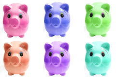 Piggy Querneigung mit sechs Schweinen Stockbild