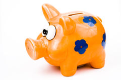 Piggy Querneigung oder Geld-Kasten Lizenzfreie Stockbilder