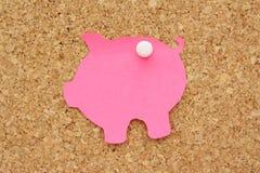 Piggy Querneigung-Post-It lizenzfreie stockbilder