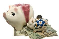 Piggy Querneigung-Sparungs-Geld Lizenzfreie Stockfotografie