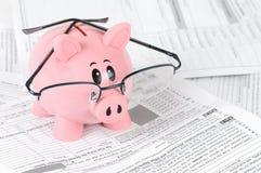 Piggy Querneigung studiert Steuerformulare lizenzfreies stockbild