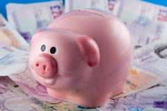 Piggy Querneigung und Bargeld Stockfotografie