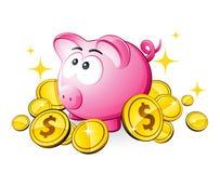 Piggy Querneigung und Dollar Lizenzfreie Stockfotos