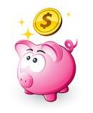Piggy Querneigung und Dollar lizenzfreie abbildung