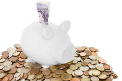 Piggy Querneigung und Geld Lizenzfreie Stockfotos