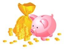 Piggy Querneigung und Moneybag Stockfotografie