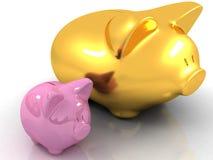 Piggy Querneigungen auf weißem Hintergrund Lizenzfreie Stockfotos