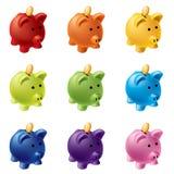 Piggy Querneigungen in den verschiedenen Farben Stockfoto