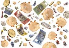 piggy regna för grupppengar Arkivfoton
