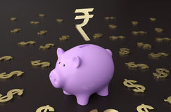Piggy with  Rupee Symbol. Piggy with Rupee Symbol 3D Rendering Image Royalty Free Stock Photo
