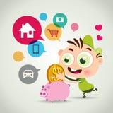 piggy sättande sparande för grupppengar stock illustrationer