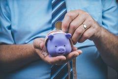 piggy sättande sparande för grupppengar Royaltyfria Bilder