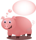 Piggy's idea - vectorial. Drawing of an enthusiastic pink piggy thinking of his new idea Royalty Free Stock Photo