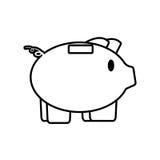 piggy save money bank line Stock Photos