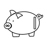 piggy save money bank line Royalty Free Stock Images