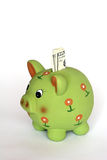 Piggy saving bank. Green piggy saving bank Royalty Free Stock Image