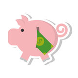 Piggy savings with bill isolated icon. Illustration design Stock Image