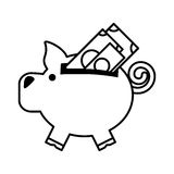 Piggy savings with bill isolated icon. Vector illustration design Stock Images