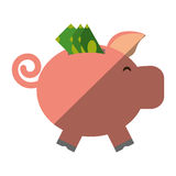 Piggy savings with bill isolated icon. Vector illustration design Stock Photos