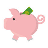 Piggy savings with bill isolated icon. Vector illustration design Stock Image