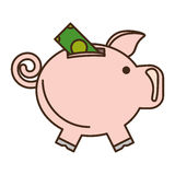 Piggy savings with bill isolated icon. Vector illustration design Royalty Free Stock Images