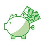 Piggy savings with bills Stock Image