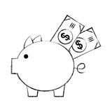 Piggy savings with bills Royalty Free Stock Images