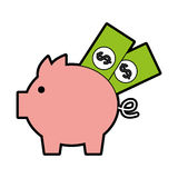 Piggy savings with bills Stock Photo