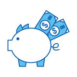 Piggy savings with bills Stock Images