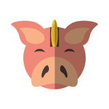 Piggy savings with coin isolated icon. Vector illustration design Royalty Free Stock Photography