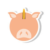 Piggy savings with coin isolated icon. Vector illustration design Stock Image
