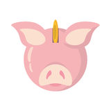 Piggy savings with coin isolated icon. Vector illustration design Royalty Free Stock Photos