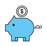Piggy savings isolated icon. Vector illustration design Stock Photography