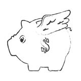 Piggy savings with wings money icon. Vector illustration design Stock Images