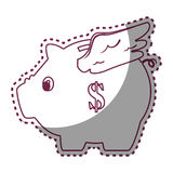 Piggy savings with wings money icon. Vector illustration design Stock Photo