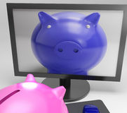 Piggy On Screen Shows Digital Savings Media Stock Photo