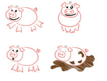 Piggy Scribbles Royalty Free Stock Photo