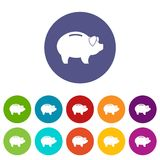 Piggy set icons. In different colors isolated on white background Royalty Free Stock Image